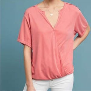 ANTHROPOLOGIE Saturday Sunday Wrap Ribbed Blouse